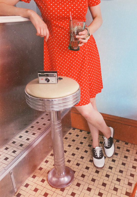 Coca Cola | vintage camera | saddle shoes | polka dot dress | vintage style | retro style